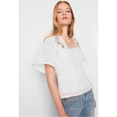 Eka Embroidered Georgette Top - summer white