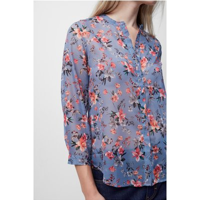 Cassa Floral Collerless Blouse - summer surf multi