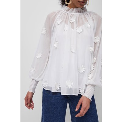 Aziza Floral Long Sleeve Blouse - summer white