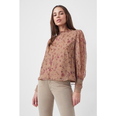 Fiona Embroidered Top - camel multi