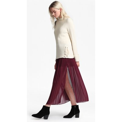 Cooper Sheer Pleated Maxi Skirt - zinfandel