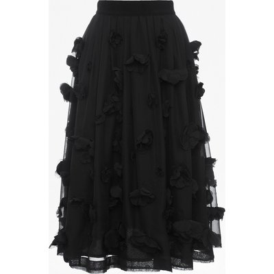 Agnes Floral Applique Midi Skirt - black