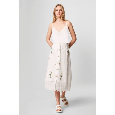 Eka Embroidered Button Front Skirt - summer white
