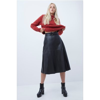 Arlan Leather Midi Skirt - black