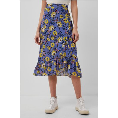 Eloise Ruffle Wrap Midi Skirt - bay blue multi