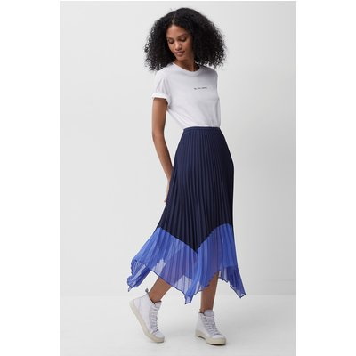 Ali Pleated Midi Skirt - nocturnal/bay blue