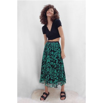 Floral Crinkle Pleated Midi Skirt - black/palm green