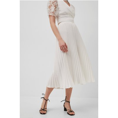Crepe Light Pleated Midi Skirt - summer white