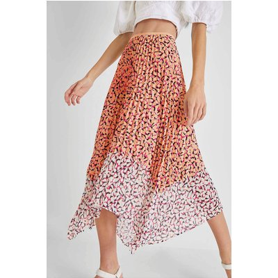 Ekeze Light Pleated Midi Skirt - beeswax orange/wild rosa multi