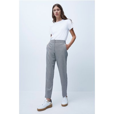Houndstooth Suiting Tailored Trousers - black/white