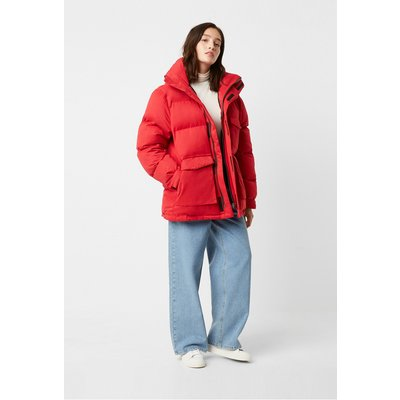 Micro Cotton Drill Puffer Jacket - true red