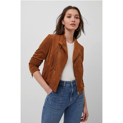 Calira Suedette Fitted Jacket - earth clay