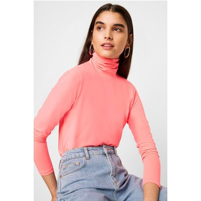 Neon Jersey Long Sleeve High Neck Top - neon pink