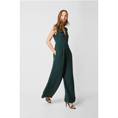 Carrabelle Crepe Pleated Jumpsuit - bayou green