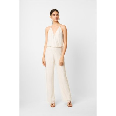 Clara Embellished Strappy Jumpsuit - winter white