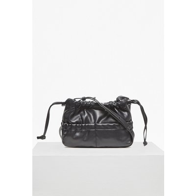 Soft Drawstring Mini Cross Body Bag - black