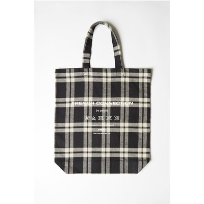 French Connection Charity Upcycled Tote - off white/navy check