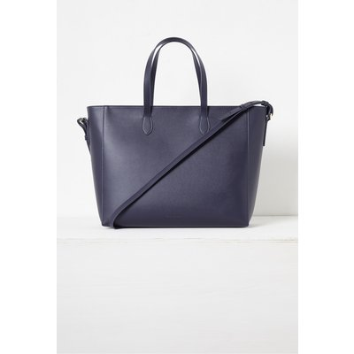 Mia Recycled Leather Zip Tote Bag - utility blue/olive oil