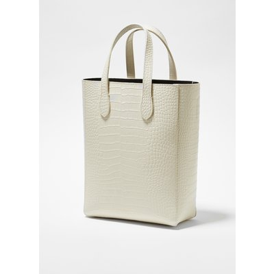 Moa Croc Recycled Leather Tote - classic cream