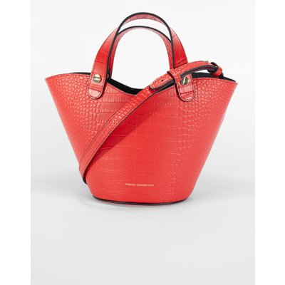 Croc Recycled Leather Mini Market Tote Bag - fiery red