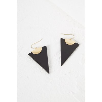 Semi Precious Triangle Earring - gold/semi precious