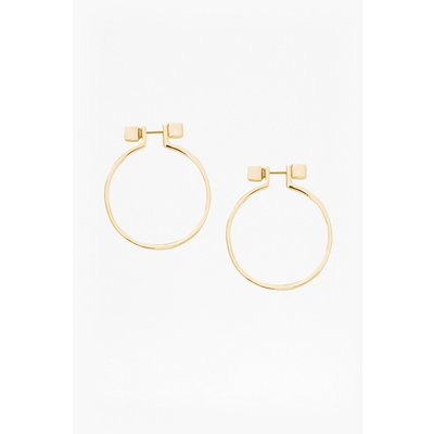 Cube Circle Earrings - gold