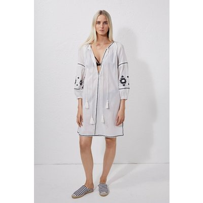 Patmos Embroidered Beach Dress - summer white