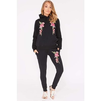 Black Sets - Flossie Black Floral Embroidered Hooded Loungewear Set