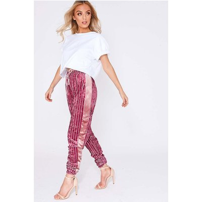 Pink Trousers - Heily Pink Stripe Velvet Drawstring Waist Trousers
