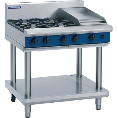 Blue Seal Evolution Cooktop 4 Open 1 Griddle Burner LPG on Stand 900mm G516C LS L - 5053661170037