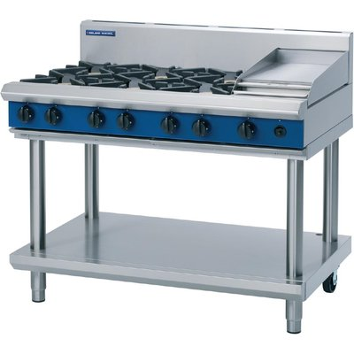 Blue Seal Evolution Cooktop 6 Open 1 Griddle Burner LPG on Stand1200mm G518C LS L - 5053661169932