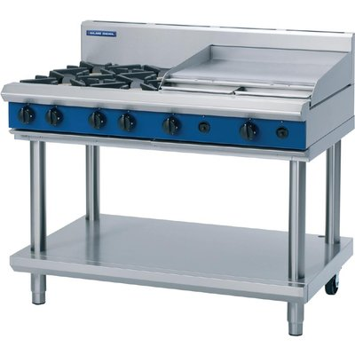 Blue Seal Evolution Cooktop 4 Open  1 Griddle Burner Natural Gas on Stand1200mm G518B LS N - 5053661169901