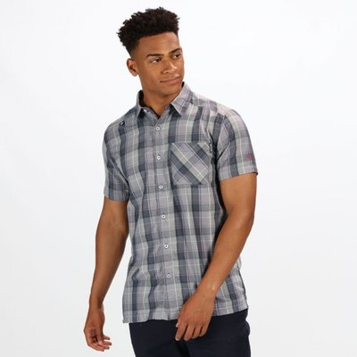 Men's Kalambo IV Short Sleeve Checked Shirt - Seal Grey