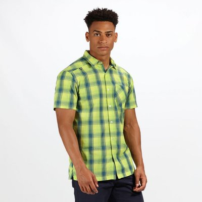 Men's Kalambo IV Short Sleeve Checked Shirt - Lime Punch