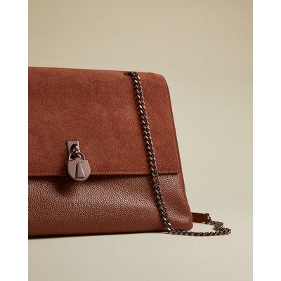 Suede Padlock Shoulder Bag