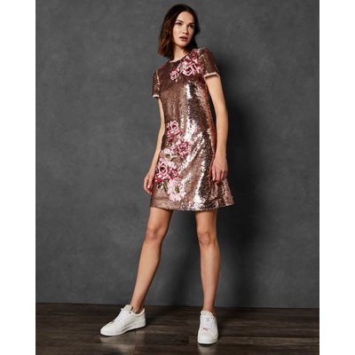Embroidered Sequin Shift Dress