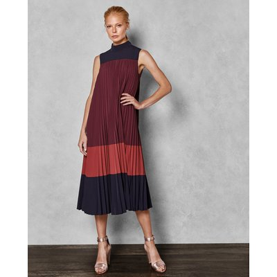 Colour Block Pleated Midi Dress