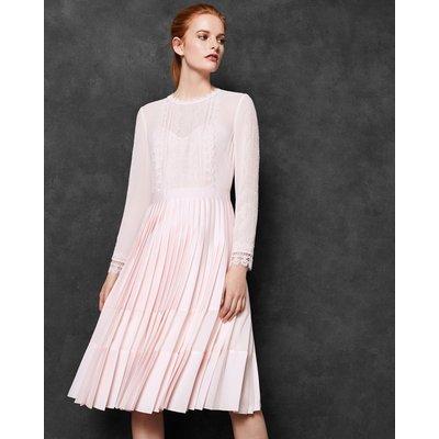 Lace Trim Pleated Midi Dress