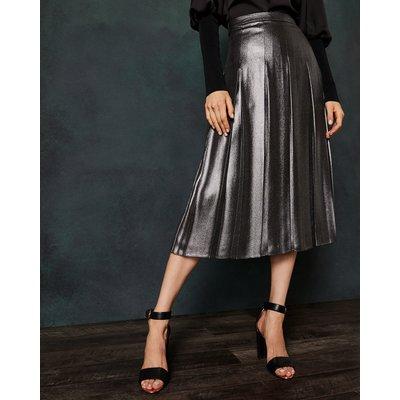 Foil Pleated Midi Skirt