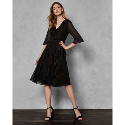 Ruffle Fluted Sleeve Dress