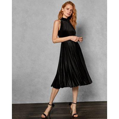 Pleated Velvet Midi Dress