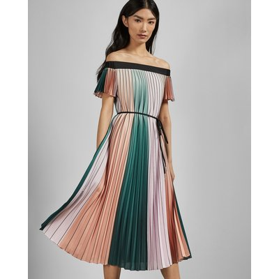 Colour Block Pleated Dress