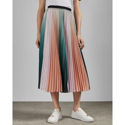 Pleated Striped Midi Skirt