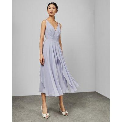 V Neck Georgette Midi Dress