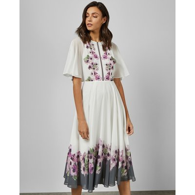 Neapolitan Frilled Neck Midi Dress
