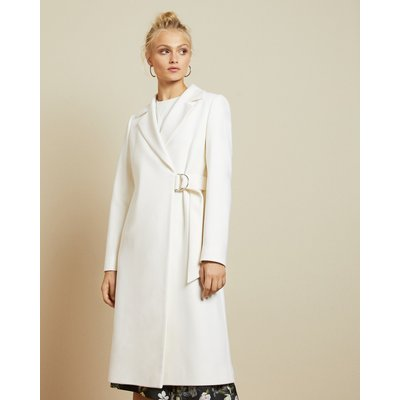 Long Belted Wrap Overcoat