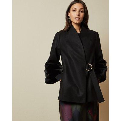 Faux Fur Cuff Short Wool Coat