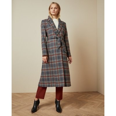 Long Checked Belted Coat