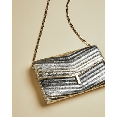 Metallic T Clutch Bag