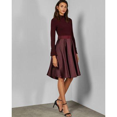 Frill Neck Full Skirt Dress